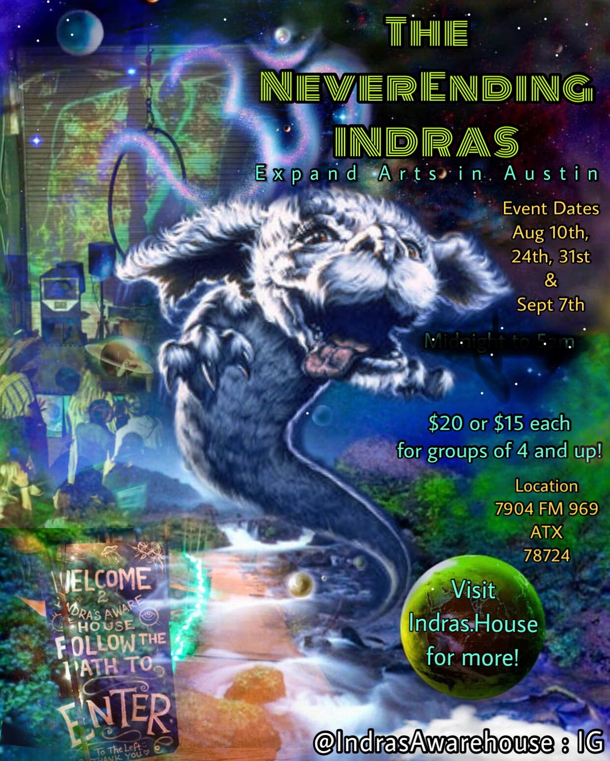 The NeverEnding Indras - Expand Arts in Austin @ Indras Awarehouse